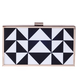 Shoespie Black and White Geometric Print Banquet Clutch