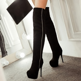 Shoespie Soft Contrast Color Knee High Boots