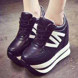 Shoespie Black and White Platform Sneakers