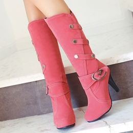 Shoespie Solid Color Buckle Stiletto Heel Knee High Boots