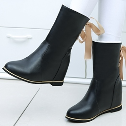 Shoespie Solid Color Back Tie Flat Boots