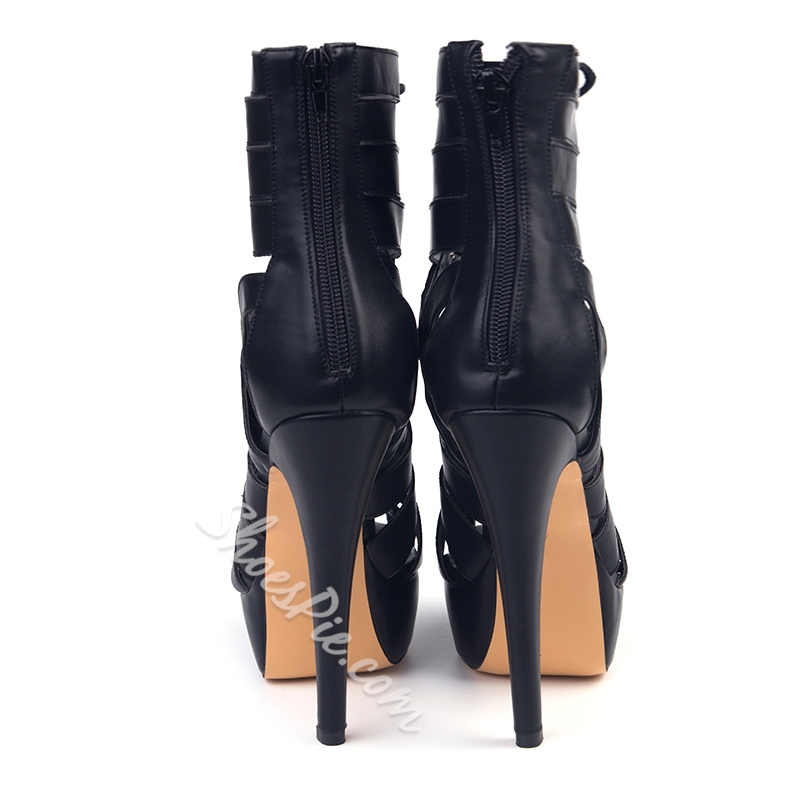 Shoespie Hard Black Lace Up Platform Heels