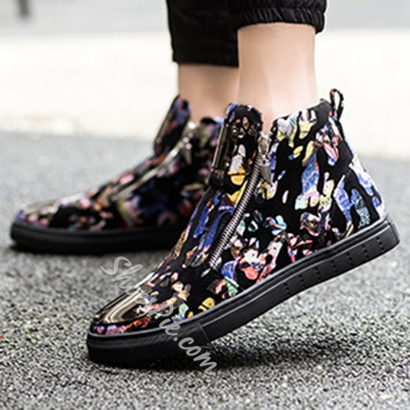 Shoespie Warm Flower Print Side Zippers Men's Sneakers