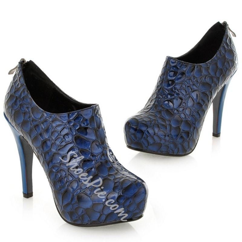 Shoespie Chic Stone Pattern Platform Ankle Boots
