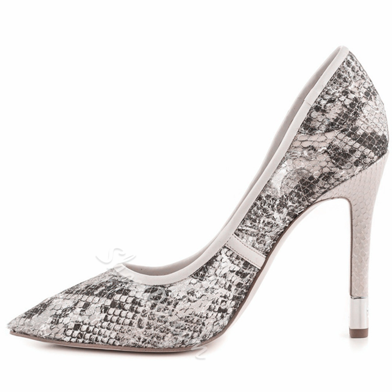 Shoespie Trendy Gray Snake Effect Stiletto Heels