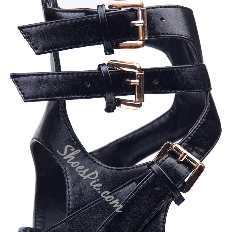 Shoespie Black Buckles Platform Sandals