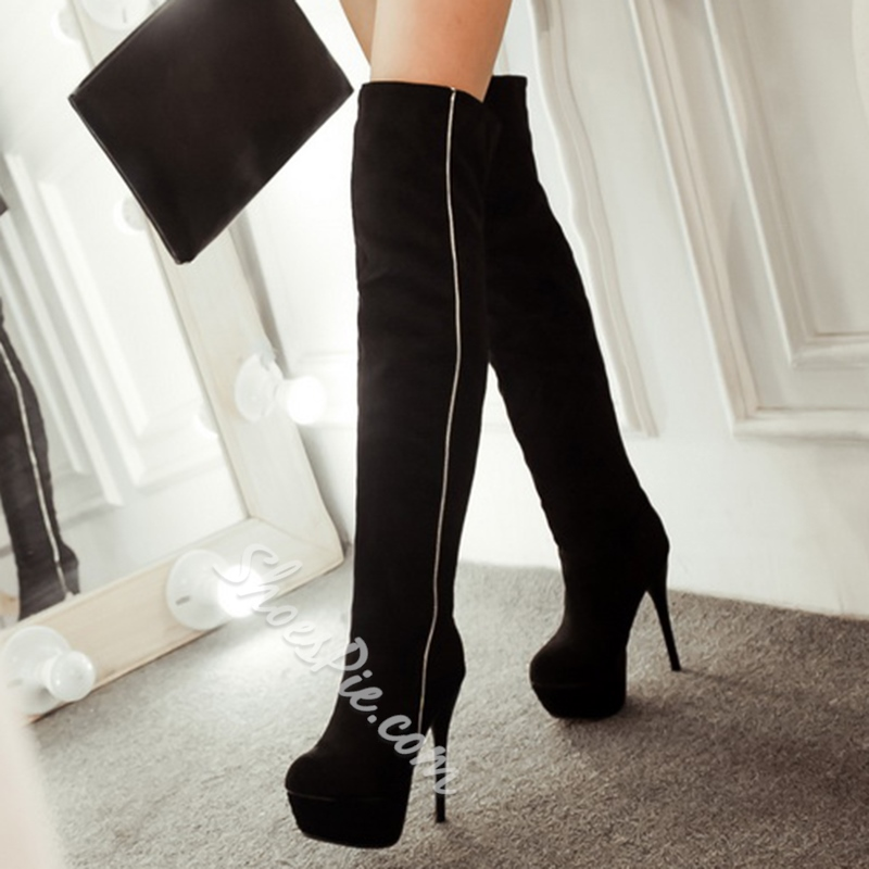 Shoespie Soft Leather Contrast Color Knee High Boots