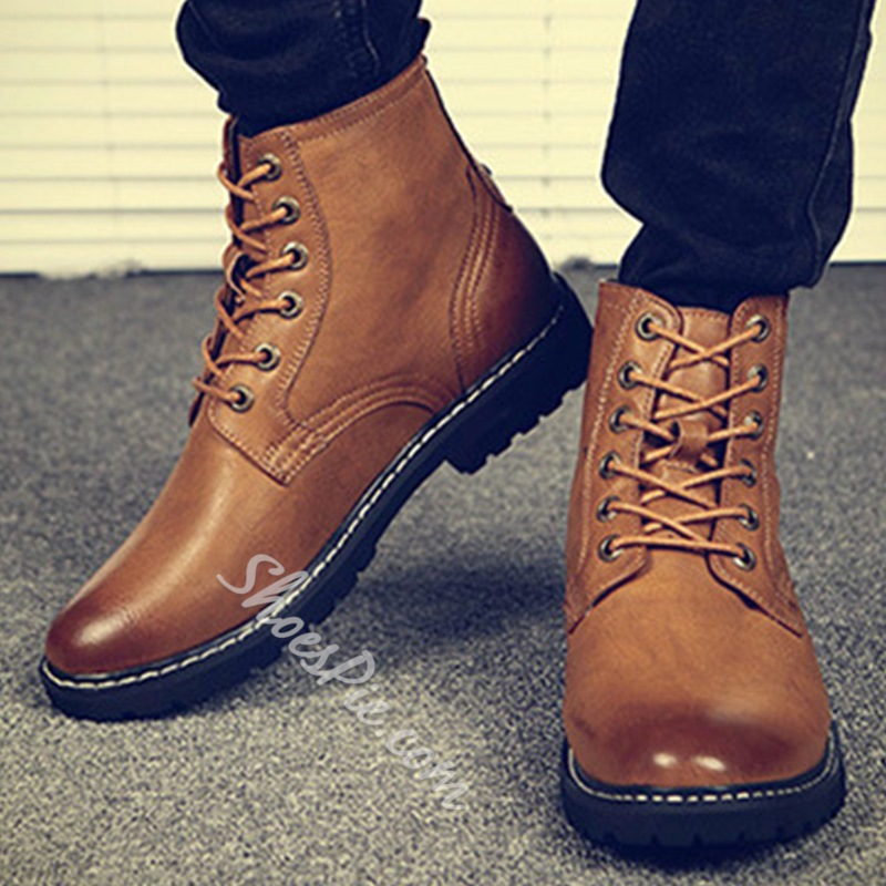 Shoespie Bright Color Threading Men's Boots
