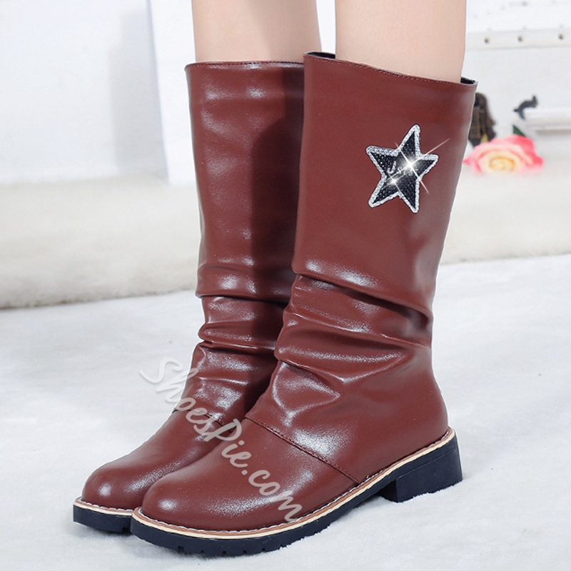 Shoespie Patent Waterproof Flat Boots