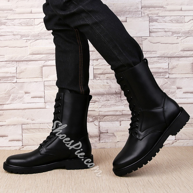 Shoespie Black High Upper Lace Up Men's Boots