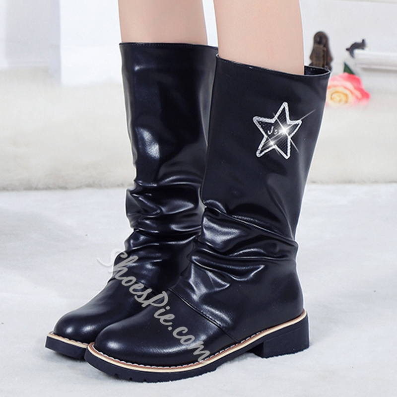 Shoespie Patent Leather Waterproof Flat Boots