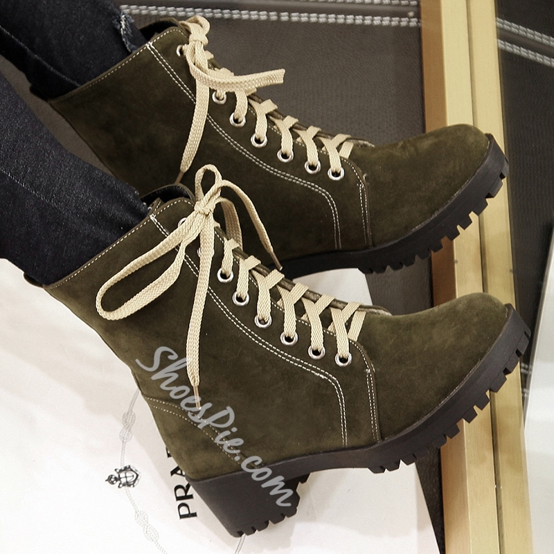 Shoespie Nubuck Leather Lace Up Martin Boots