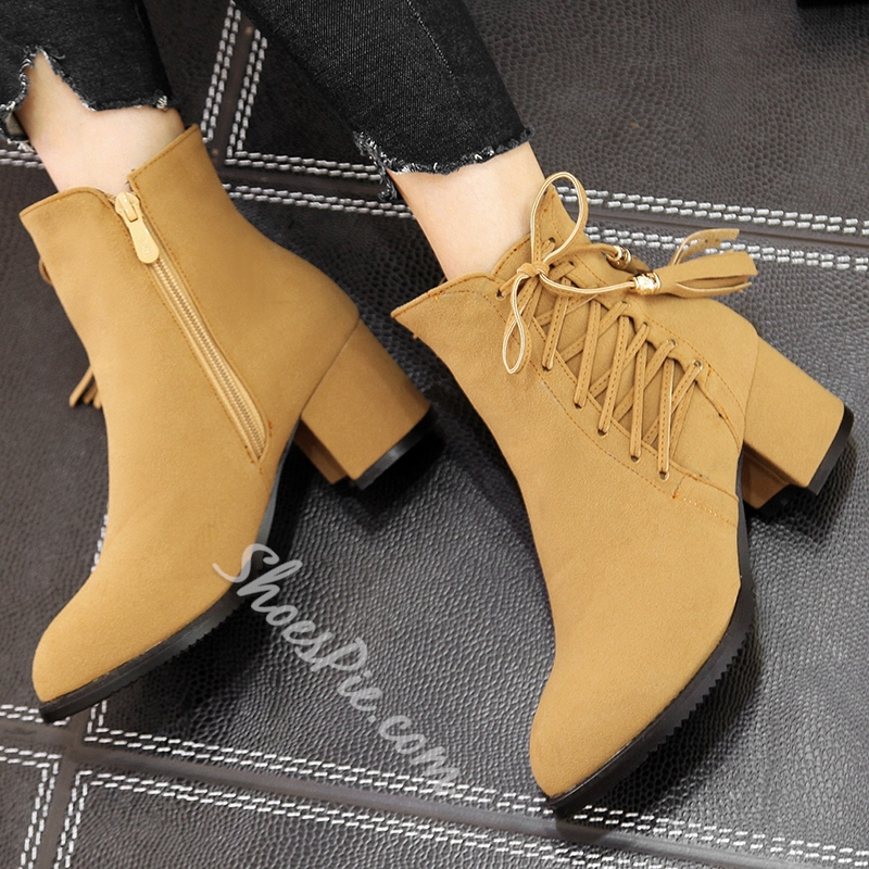 Shoespie Solid Color Side Tie Block Heel Ankle Boots