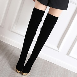 Shoespie Solid Color Tie-Back Platform Thigh High Boots
