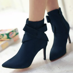 Shoespie Nubuck Bow Knot Pointed Toe Ankle Boots