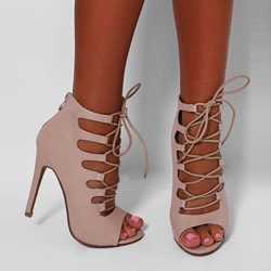 Shoespie Apricot Lace Up Peep Toe Stiletto Heels