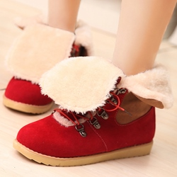 Shoespie Round Toe Lace-Up Hiking Snow Boots