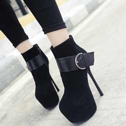 Shoespie Black Buckle Platform Sky High Ankle Boots