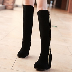 Shoespie Nubuck Zipper Wedge Cheap Boots