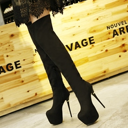 Shoepsie Black Nubuck Platform Sky High Knee High Boots