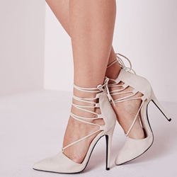 Shoespie Beige Lace-Up Stiletto Heels