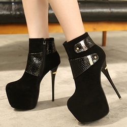 Shoespie Black Leather Buckle Platform Ankle Boots