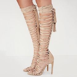 Shoespie Lace-Up Stiletto Heel Sandal Boots