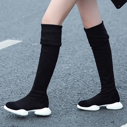 Shoespie Black Spandex Sport Knee High Boots