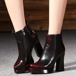 Shoespie Patent Brush Off Platform Ankle Boots