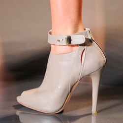 Shoespie Light Apricot Buckle Peep Toe Stiletto Heels