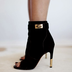 Shoespie Black Metal Buckle Peep Toe Ankle Boots