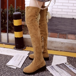 Shoespie Nubuck Back Tie Knee High Boots