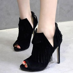Shoespie Black Asymmetric Fringe Peep Toe Ankle Boots