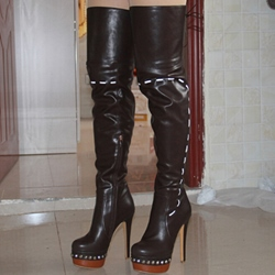 Shoespie Rivet Platform Lace-Up Thigh High Boots
