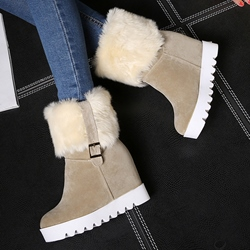 Shoespie Nubuck Leather Lug Sole Warm Snow Boots