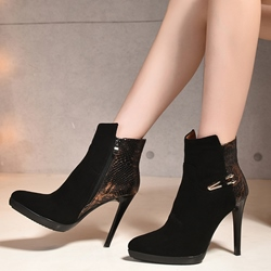 Shoespie Black Patchwork Pointed Toe Ankle Boots