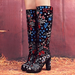 Shoespie Round Toe Floral Embroidered Block Heel Knee High Boots