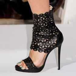 Shoespie Runway Laser Cutting Back Zipper Dress Sandals