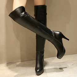 Shoespie Solid Color Stiletto Heel Knee High Boots