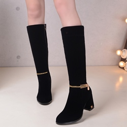 Shoespie Black Ankle Zipper Block Heel Knee High Boots