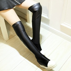 Shoespie Sport Cap Toe Flat Thigh High Boots