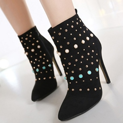 Shoespie Black Bead & Rivets Appliqued Ankle Boots