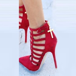 Shoespie Red Pointed Toe Cut Out Stiletto Heels