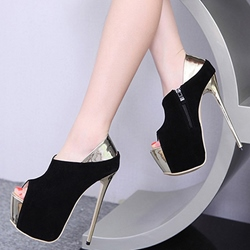 Shoespie Black Patchwork Platform Heels