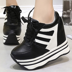 Shoespie Black and White Stripies Platform Sneakers