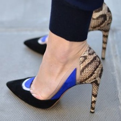 Shoespie Contrast Color Peacock Print Stiletto Heels