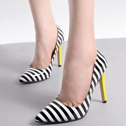 Shoespie Chic Striped Pointed Toe Stiletto Heels
