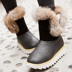 Shoespie Round Toe Shearling Lug Sole Snow Boots