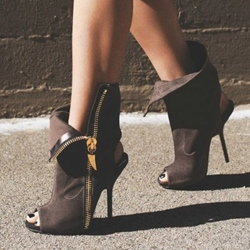 Shoespie Coffee Nubuck Side Zipper Extreme High Heel Booties