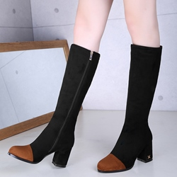 Shoespie Nubuck Cap Toe Patchwork Block Heel Knee High Boots